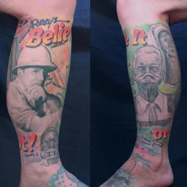 Realistic Calf Leg Film Tattoo by Monte Tattoo