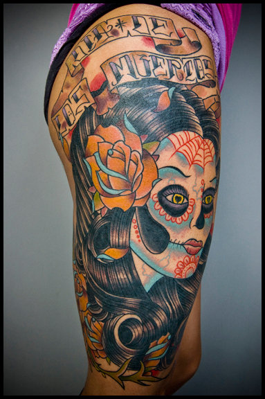 Mexican Skull Thigh Tattoo by Nightmare Studio