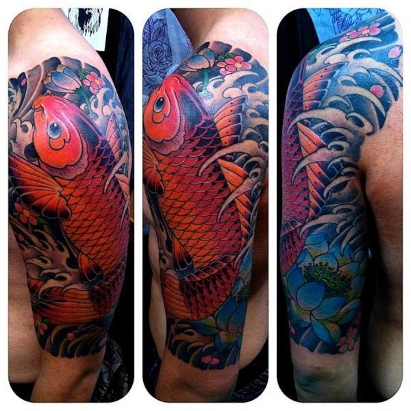 Arm Japanese Carp Koi Tattoo by NY Adorned