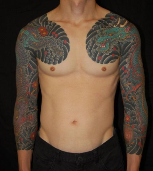 Arm Chest Japanese Tattoo by NY Adorned