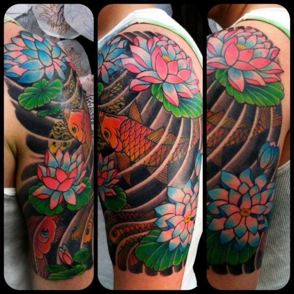 Tatuaje Brazo Japoneses Carpa Por Ny Adorned