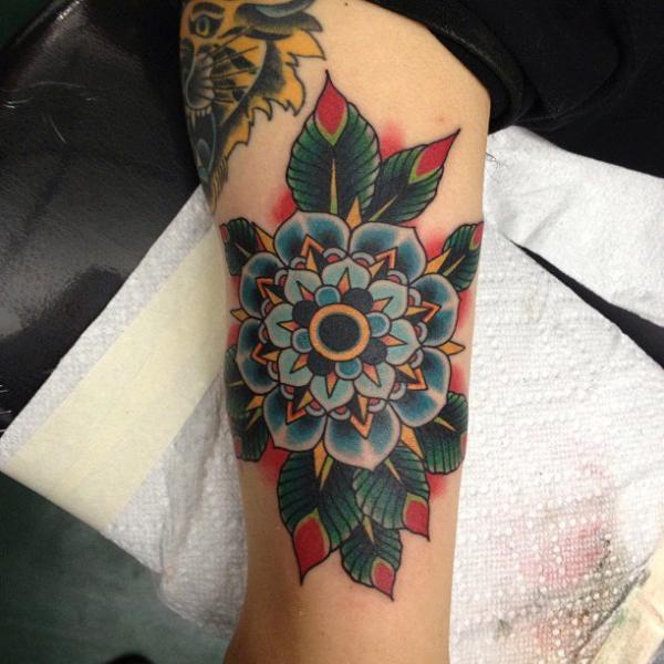 Arm Flower Geometric Tattoo by NY Adorned