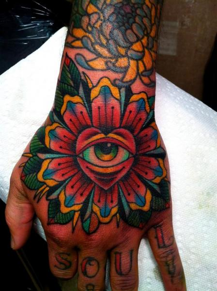 Old School Hand Auge Tattoo von NY Adorned