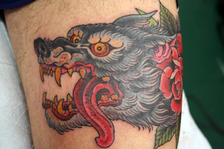 Old School Wolf Thigh Tattoo by NY Adorned