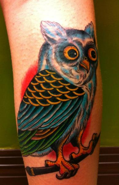 Arm New School Owl Tattoo by Obscurities Tattoo