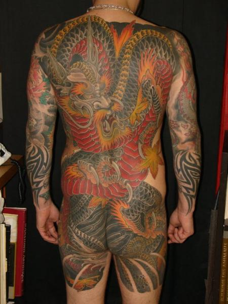 Japanese Back Dragon Butt Tattoo by Ethno Tattoo