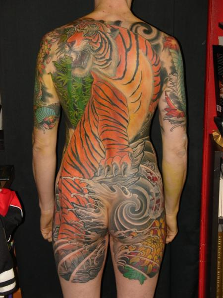 Leg Japanese Back Tiger Butt Tattoo by Ethno Tattoo