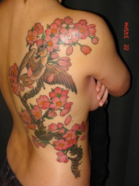 Flower Back Cherry Tattoo by Ethno Tattoo