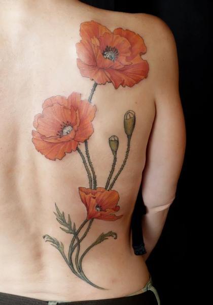 Flower Back Poppy Tattoo by Ethno Tattoo
