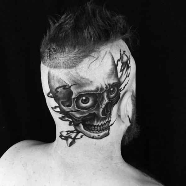 Skull Head Tattoo by Ethno Tattoo