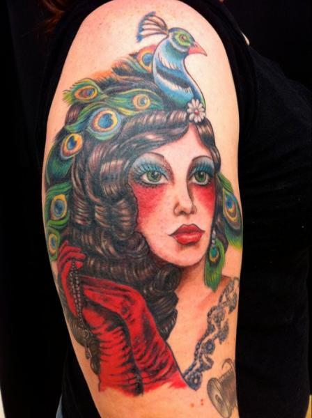 Shoulder Gypsy Tattoo by Omaha Tattoo
