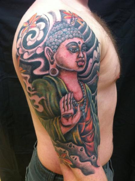 Shoulder Japanese Buddha Tattoo by Omaha Tattoo