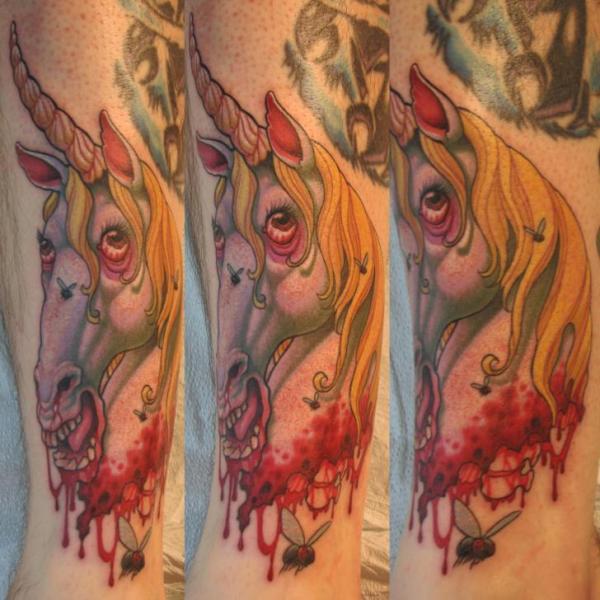 Arm Fantasy Unicorn Tattoo by Optic Nerve Arts