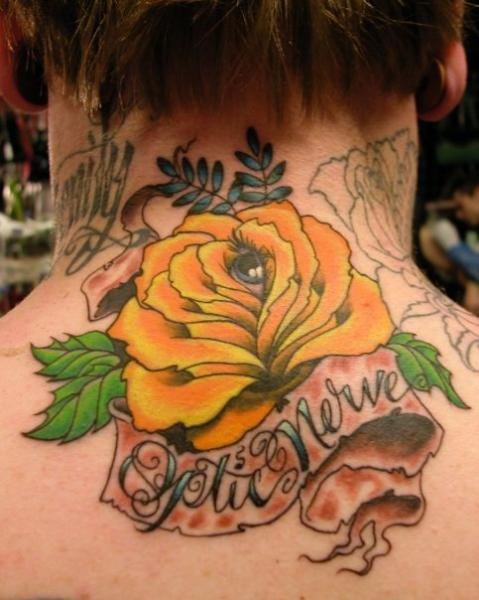 Flower Neck Tattoo by Optic Nerve Arts