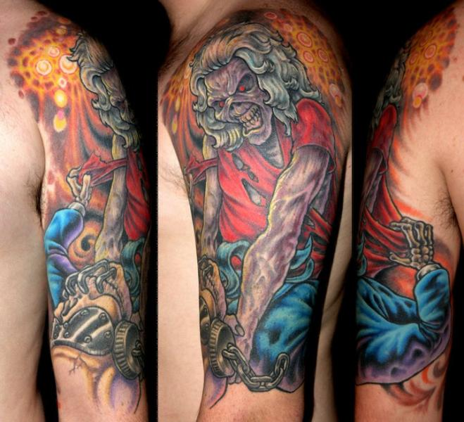 Shoulder Fantasy Skull Tattoo by Optic Nerve Arts