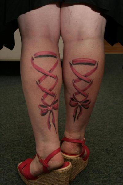 Realistic Calf Ribbon Tattoo by Oregon Coast Tattoo