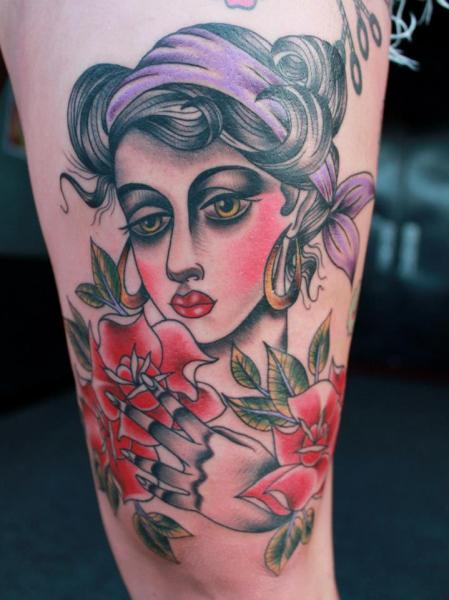Old School Gypsy Tattoo by Pain and Wonder