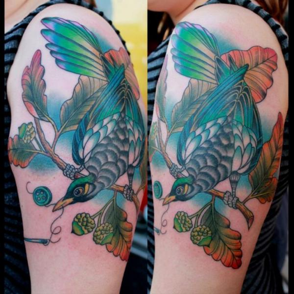 Shoulder Bird Tattoo by Pain and Wonder