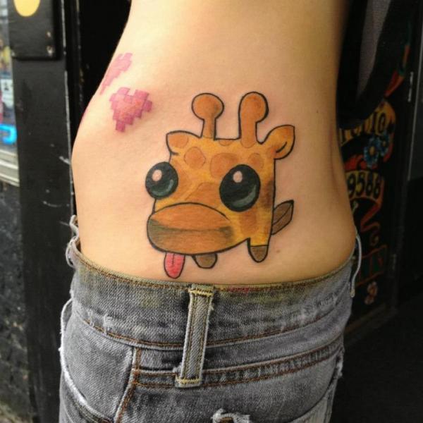 Fantasy Side Giraffe Tattoo by Pain and Wonder
