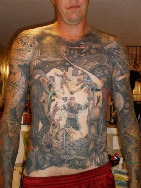 Chest Belly Body Star Wars Tattoo by Paradise Tatto