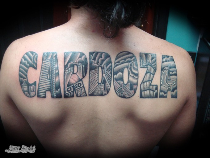 Lettering Back Fonts Tattoo by Pino Bros Ink