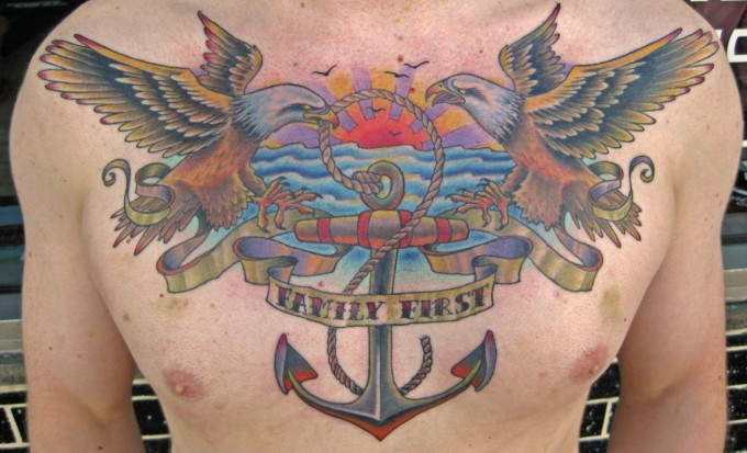 Chest Eagle Anchor Tattoo by Pino Bros Ink
