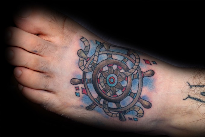 Old School Foot Rudder Tattoo by Pino Bros Ink
