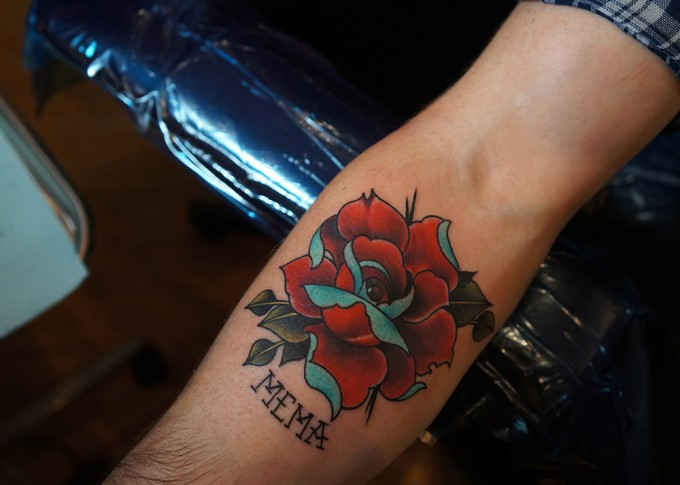 Arm Old School Flower Tattoo by Pino Bros Ink