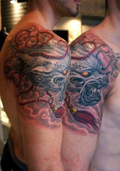 Shoulder Dragon Tattoo by Pino Bros Ink