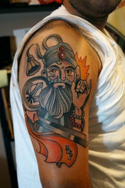 Shoulder Fantasy Tattoo by Pino Bros Ink
