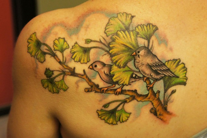 Shoulder Realistic Bird Tree Tattoo by Pino Bros Ink