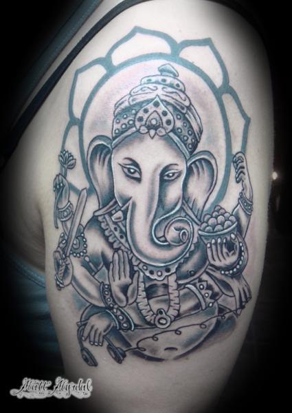 Schulter Religiös Ganesh Tattoo von Pino Bros Ink