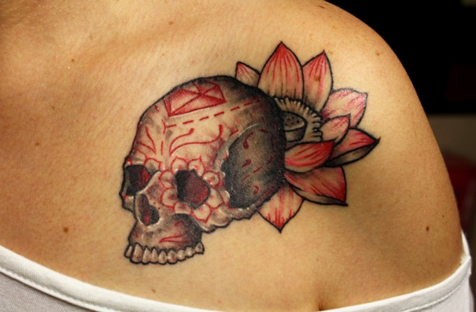 Shoulder Flower Skull Tattoo by Pino Bros Ink