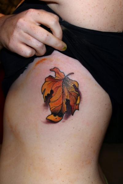 Realistic Side Leaf Tattoo by Pino Bros Ink