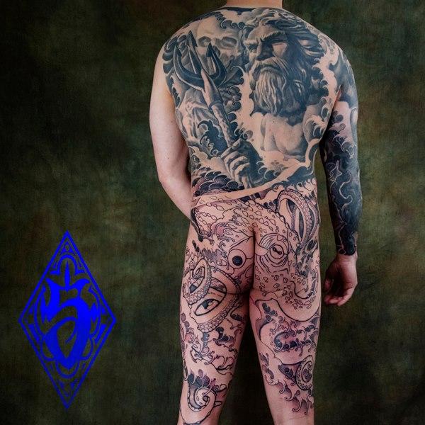 Back Body Neptune Tattoo by Plurabella Tattoo