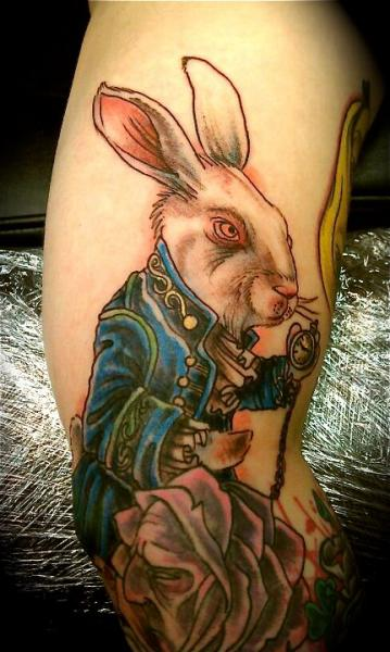 Fantasy Rabbit Alice Wonderland Tattoo by Pure Ink Tattoo