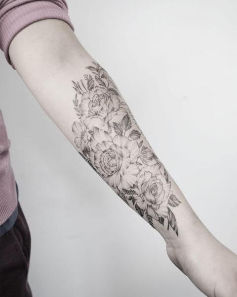 Arm Flower Dotwork Tattoo by Golem Tattoo