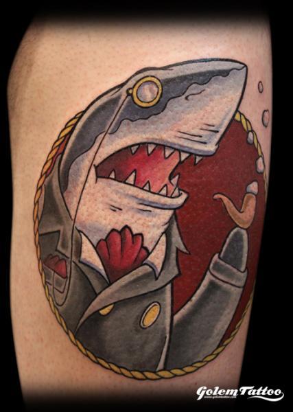 Fantasy Shark Tattoo by Golem Tattoo