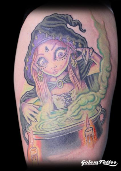 Fantasy Witch Tattoo by Golem Tattoo