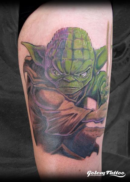 Fantasy Yoda Tattoo by Golem Tattoo