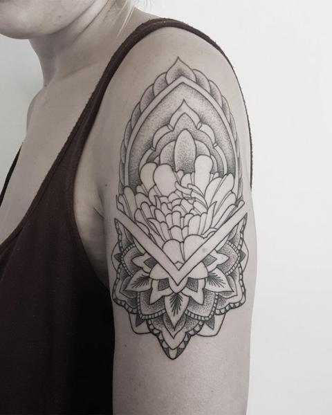 Shoulder Dotwork Mandala Tattoo by Golem Tattoo