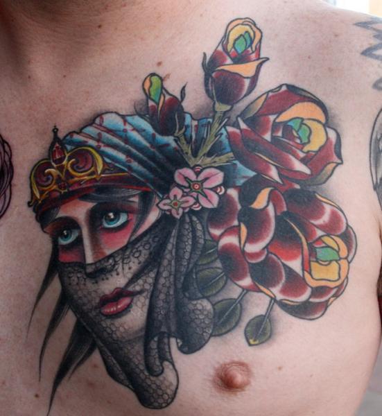 Chest Old School Gypsy Tattoo by Rebellion Tattoo