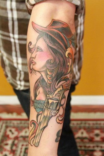 Arm Old School Women Gun Tattoo by Revolver Tattoo