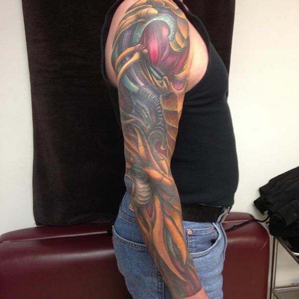 Arm Biomechanical Tattoo by Sakura Tattoos