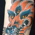 tatuaje Brazo New School Lobo por Sakura Tattoos