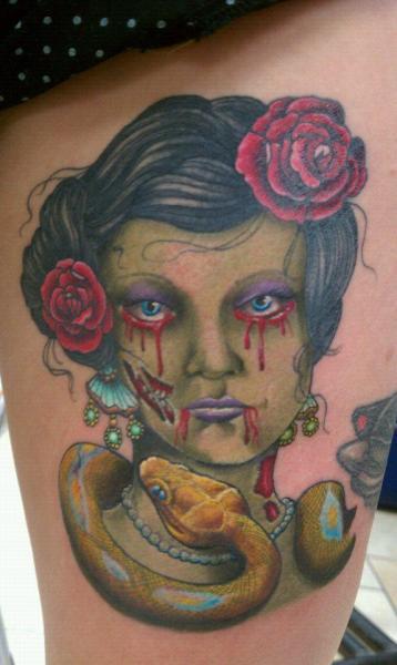 Fantasy Women Thigh Tattoo by Sakura Tattoos