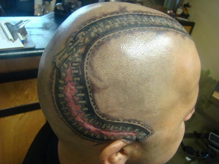 Tatuaje Cabeza Cremallera por Animated World Tattoo