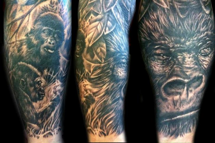 Arm Realistic Monkey Tattoo by Club Tattoo