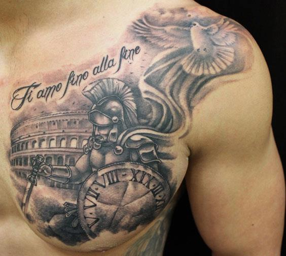 Realistic Chest Warrior Tattoo by Club Tattoo