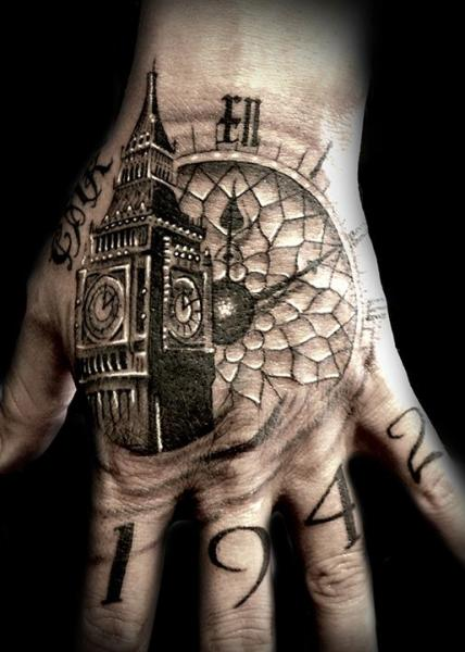 Clock Finger Hand Big Ben Tattoo by Club Tattoo